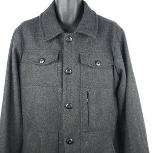 Bridge & Burn Mens Size L Charcoal Gray Wool Coat